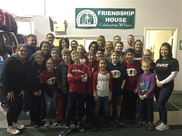5th Grade Cardinals Care Club collected items and volunteered for the Friendship House!
