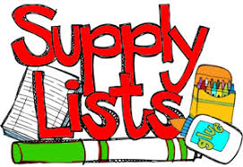 Supply List for 2018-19 School Year