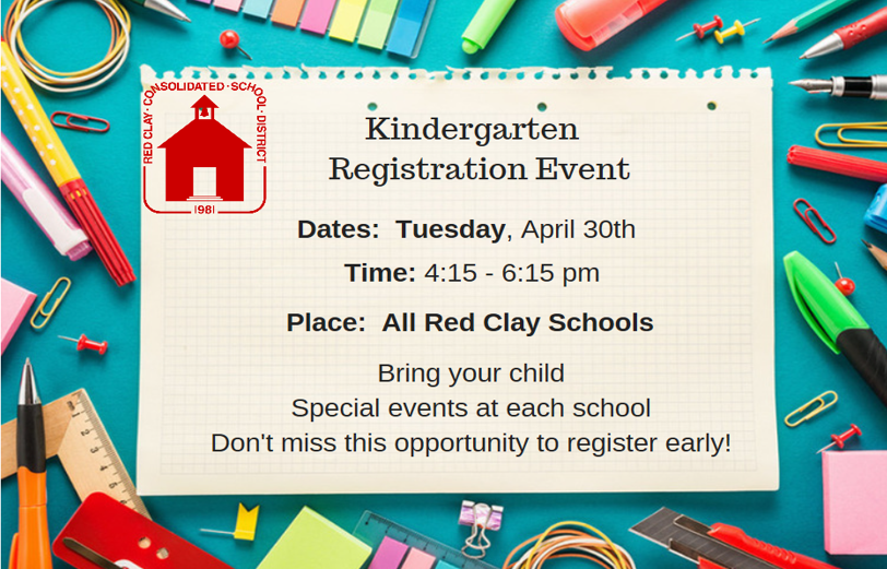 .  Kindergarten registration is now open and there is an event on April 30th