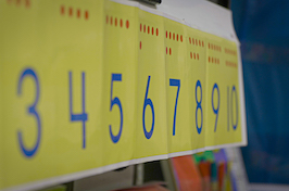 Number chart in classroom
